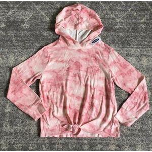Old Navy Girls L(10-12) Hooded Shirt Pink Tie Dye